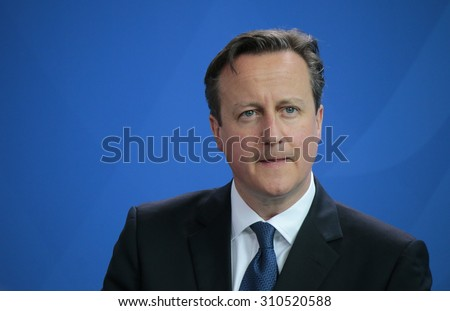 MAY 29, 2015 - BERLIN: British Prime Minister David Cameron at a press conference after a meeting with the German Chancellor in the Federal Chancellery in Berlin. - stock photo