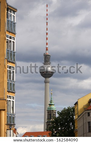 "MAY 2012 - BERLIN: the ""Fernsehturm"" (television tower) in the Mitte district of Berlin."