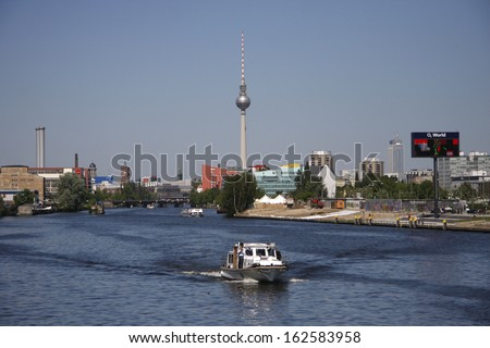 "MAY 2008 - BERLIN: the ""Fernsehturm"" (television tower), river Spree in the Mitte district of Berlin."
