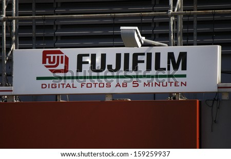 "May 2012 - BERLIN: the logo of  ""Fujifilm"", Berlin."