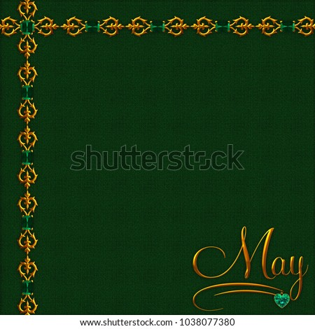 May Birthstone Background Collection 20 Beautiful Rich Emerald Green Texture With Golden Decorations