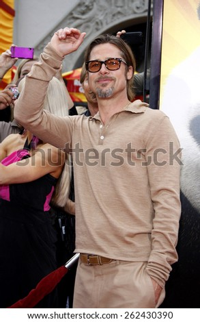 "May 22, 2011. Brad Pitt at the Los Angeles premiere of ""Kung Fu Panda 2"" held at the Grauman's Chinese Theater, Los Angeles.  - stock photo"