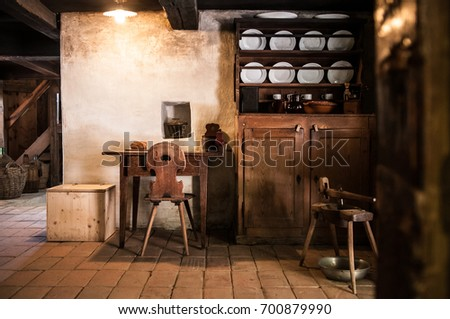 May 4, 2016 - Brienz, Switzerland : Interior of Old drug store at  Ballenberg Open air Museum.