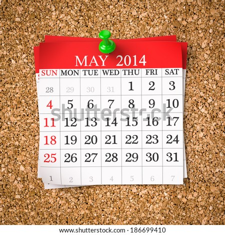 May 2014  Calendar on cork board , 3d render - stock photo