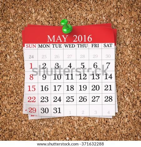 May 2016  Calendar on cork board , 3d render - stock photo