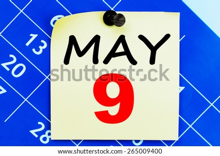 May 9 Calendar. Part of a set - stock photo