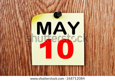 May 10 Calendar. Part of a set - stock photo
