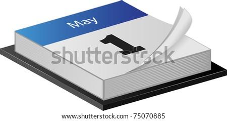 May Calender illustration on white - stock photo