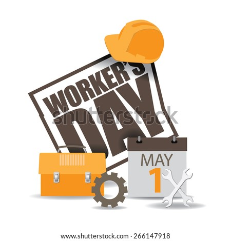 May first workers day icon EPS 10 vector royalty free stock illustration for greeting card, ad, promotion, poster, flier, blog, article, social media, marketing - stock photo