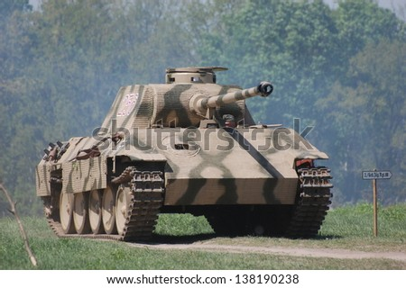 MAY 11 : German tank (replica), Red Star history club, during historical reenactment of WWII on May 11, 2013 in Kiev, Ukraine - stock photo