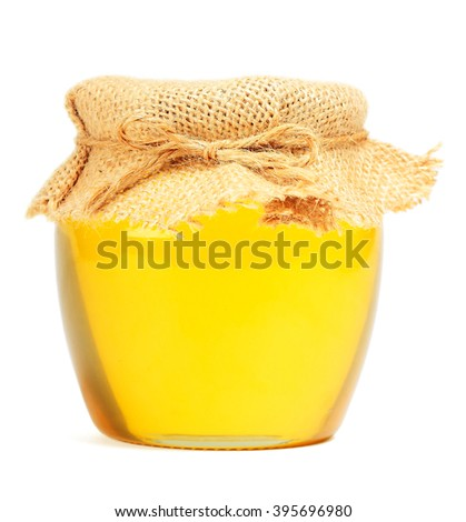 May honey in jar on white background - stock photo