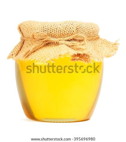May honey in jar on white background - stock photo