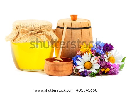 May honey in jar with miscellaneous flowers on white background - stock photo