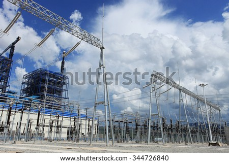 MAY 19, 2014 : HONGSA - LAO PDR : Coal fire Lignite power plant and 500 kV switchgear under-construction in Hongsa district, Lao PDR.
