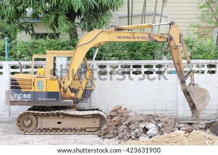 May 20, 2016 : Komatsu excavator. Komatsu is a Japanese multinational corporation that manufactures construction, mining, and military equipment, at suthisarn road, Bangkok, Thailand - stock photo