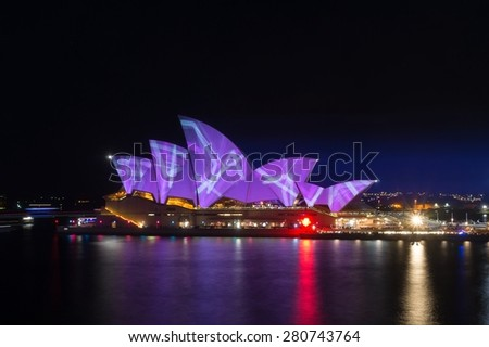 May 23, 2015:  Lighting the Sails Event - Sydney Opera House illumination. Part of Vivid Sydney: A Festival of Light, Music & Ideas. Long exposure. Circular Quay