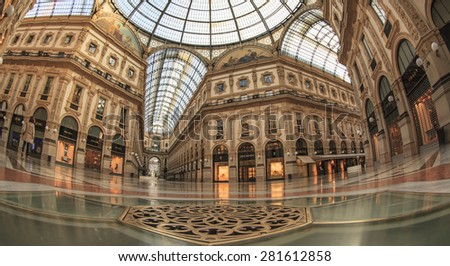 May 24, 2015 - Milan (Italy) The Galleria Vittorio Emanuele II has returned to its ancient splendor after the cleaning and restoration. - stock photo
