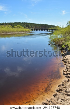 May morning at the forest river. Spring river landscape in the national Park of Central Russia.