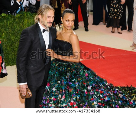 May 2, 2016 - New York, New York - Marco Perego and Zoe Saldana attend the Metropolitan Museum of Art Costume Institute Gala, Manus x Machina: Fashion in an Age of Technology
