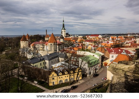 May 02, 2015: Panorama of the old town of Tallinn, Estonia