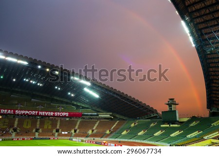 May 27, 2015 - Shah Alam, Malaysia: A rainbow appears before the friendly match between Tottenham Hotspur and the Malaysia at the Shah Alam Stadium. Tottenham Hotspur is on a Asia-Australia tour. - stock photo