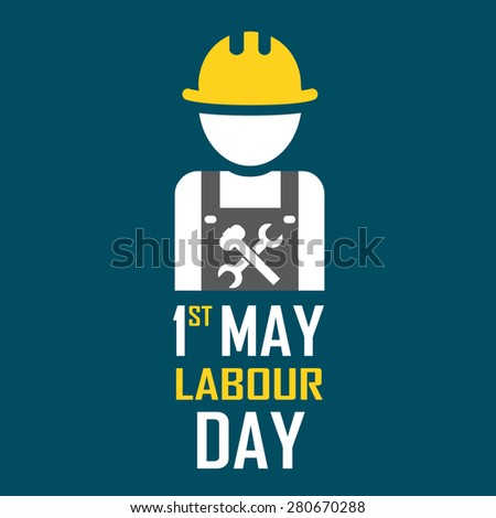 May 1st Labor (labour) day illustration conceptual construction - raster. - stock photo