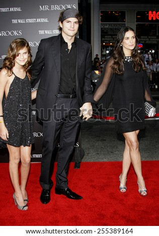 """May 22, 2007. Tallulah Belle Willis, Ashton Kutcher and Demi Moore attend the Los Angeles Premiere of """"Mr. Brooks"""" held at the Grauman's Chinese Theater in Hollywood, California United States. - stock photo"""