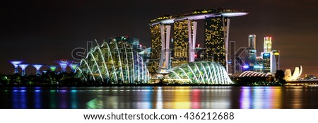 May 22, 2016 The breathtaking beauty of the Sunset behind Marina Bay Sands is really dazzling to see. Marina Bay Sands is known worldwide as one of the landmark of Singapore. - stock photo
