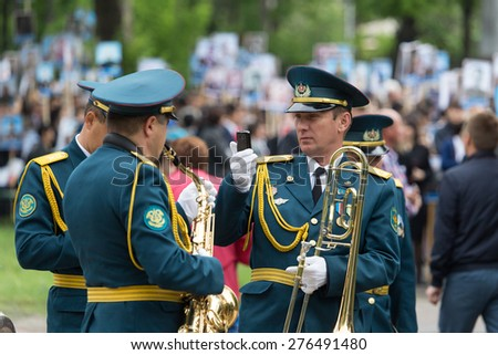 May 9, 2015. The celebration of 70 anniversary of the Victory in the Nazi Germany. Kazakhstan. Shymkent