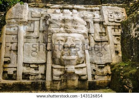 Maya archtitecture and the symbols of Maya - stock photo