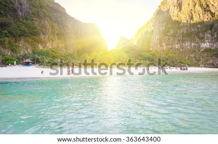 Maya bay at sunrise. One of the most beautiful and famous bay in thailand - stock photo