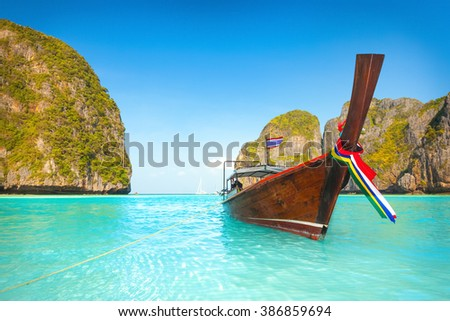 Maya bay at sunrise time. Phi phi island - stock photo