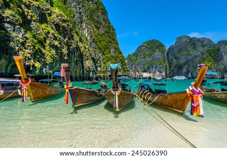 Maya Bay is a stunningly beautiful bay that's sheltered by 100-metre high cliffs on three sides with several beaches with soft white sand, underwater colourful coral and exotic fish in clear water.