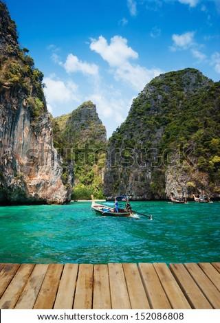 Maya Bay island of phi phi leh in Thailand - stock photo