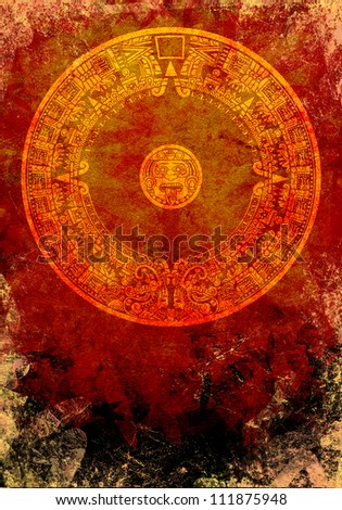 Maya calendar background - stock photo