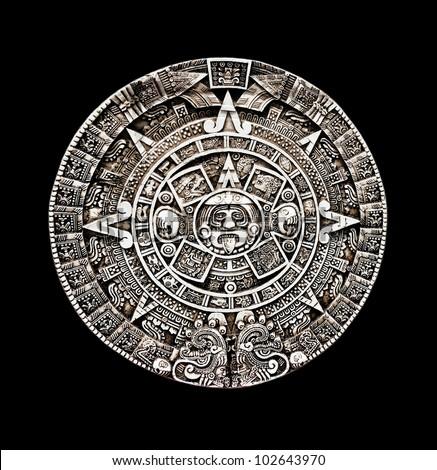 Maya calendar isolated - over black - stock photo