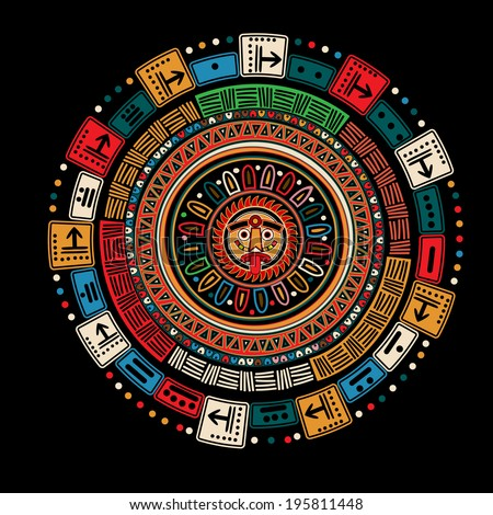 Maya calendar over black background - stock photo