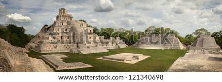 Maya Edzna complex, the Temple five floors - stock photo