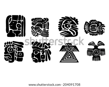 Maya patterns made on the basis of reliefs and sculptures. Human faces, birds, fish and animals. Elements of floral ornament. Black and white drawings. - stock photo