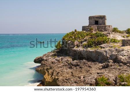 Maya ruins in Tulum, Mexico - stock photo