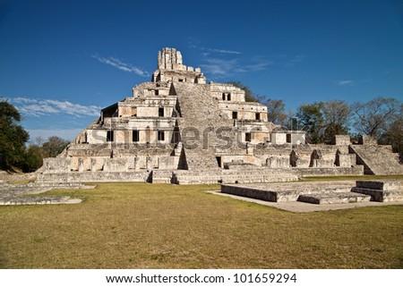 Maya ruins of Edzna, near Campeche, Mexico - stock photo