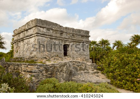 Maya ruins on top of hills - stock photo