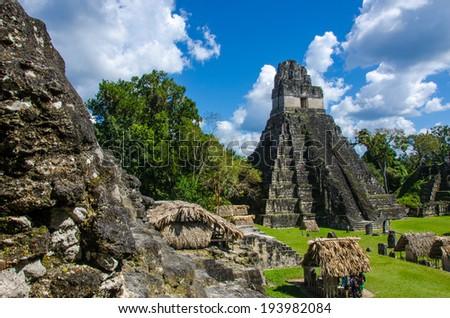 Maya Tikal Ruins in Guatemala - stock photo