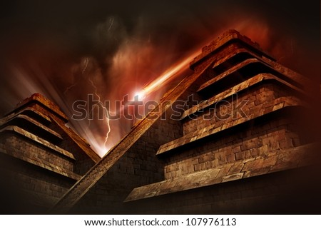 Mayan Apocalypse  - Mayan Pyramids, Lightning Storm and Asteroid Coming from the Space. Warm Red-Browny Movie Like Color Tones. Cool Armageddon Theme.