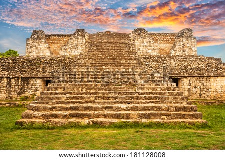 Mayan archeological site of Ek Balam (black jaguar) in Yucatan, Mexico - stock photo