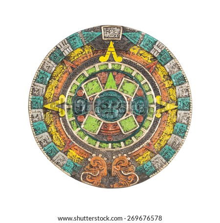 Mayan calendar. Ancient religious symbol in Mexico isolated on white with clipping path. - stock photo