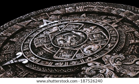 Mayan calendar from perspective - stock photo