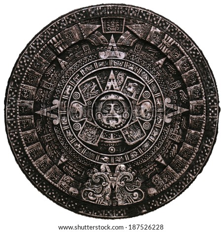 Mayan calendar on white background - stock photo