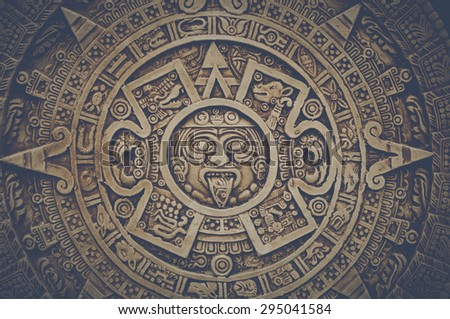 Mayan Calendar with Retro Intagram Style Filter - stock photo