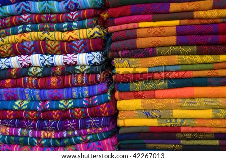 Mayan colorful blankets in a outdoor market in Chiapas, Mexico